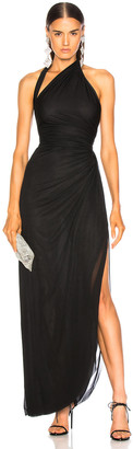 Alexander McQueen Drape Jersey Halter Gown in Black | FWRD