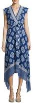 Shoshanna Catrina Sleeveless Printed Silk Wrap Dress, Blue