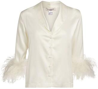 Gilda and Pearl Ostrich Feather-Trim Esme Pyjama Shirt
