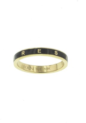 Foundrae Black Enamel Resilience Thin Band Yellow Gold Ring
