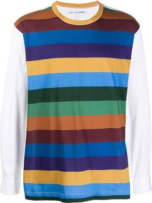Comme des Garçons Shirt striped colour block T-shirt