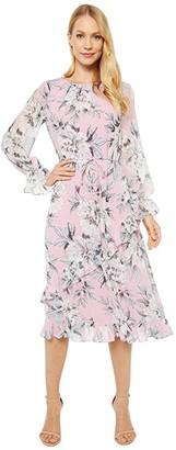 Adrianna Papell Floral Chiffon Ruffle Midi Dress (Pink Multi) Women's Dress