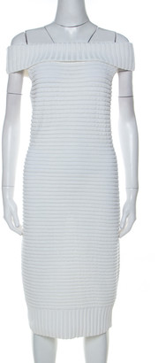 Chanel White Cotton Blend Rib Knit Off-Shoulder Fitted Dress L