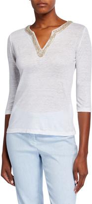 120% Lino Crystal Embellished Tunic Collar 3/4-Sleeve T-Shirt