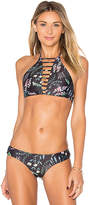 Bettinis Strappy Halter Tie Top in Black. - size M (also in S,XS)