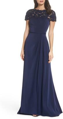 La Femme Lace Yoke A-Line Gown