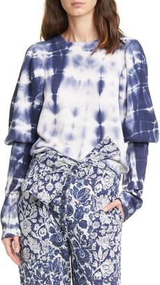 Ulla Johnson Philo Tie Dye Puff Sleeve Sweatshirt