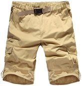 MedzRE Men's Summer Elastic Waist Baggy Cotton Cargo Shorts