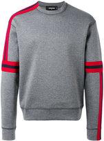 DSQUARED2 asymmetric stripe detail sweatshirt - men - Cotton/Polyester - M