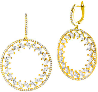 Sphera Milano 18K Yellow Gold Over Silver Cz Round Dangling Earrings