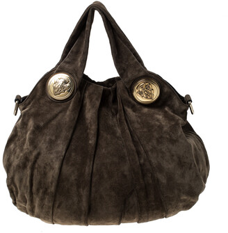 Gucci Olive Green Suede Large Hysteria Hobo