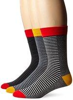 Ben Sherman Men's 3 Pack Alfred Crew Socks, White Combo, 10-13/6-12