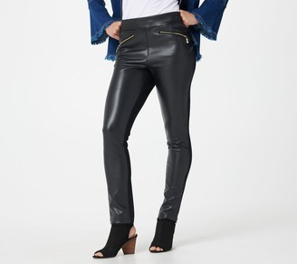 Belle By Kim Gravel Faux Leather Ponte Pant with Hip Zippers