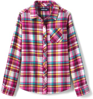 Lands' End Girls 7-16 Plaid Flannel Shirt in Regular & Plus Size