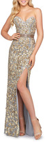 Mac Duggal 6-Week Shipping Lead Time Metallic-Leaf Embellished Strapless High Slit Gown