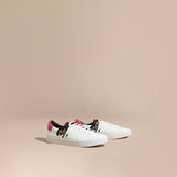 Burberry Splash Motif Leather Trainers , Size: 40.5, White