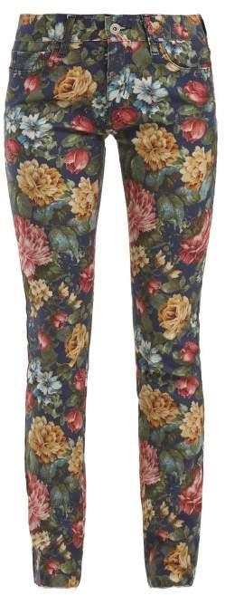 Junya Watanabe Floral Print Cotton Blend Jeans - Womens - Blue Multi