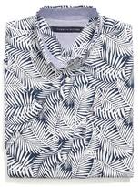 Tommy Hilfiger Final Sale- Leaf Print Custom Fit Short Sleeve Shirt