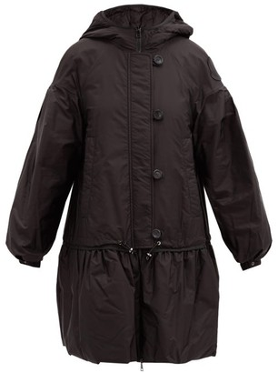 Moncler Kended Puff-sleeve Dropped-waist Down-filled Coat - Black