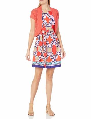 Robbie Bee Women's Jacket Printed Prada Dress with Coral Knit Shrug
