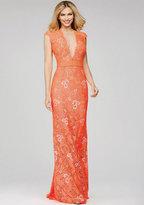 Jovani Lace and Bead Embellished Illusion Jewel Neck Sheath Dress 28200