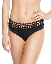 Ale By Alessandra Free Spirit Crochet-Trim Bikini Swim Bottom, Onyx