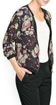 MANGO Outlet Floral Chiffon Bomber Jacket