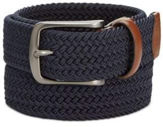Perry Ellis Men's Webbed Leather-Trim Belt