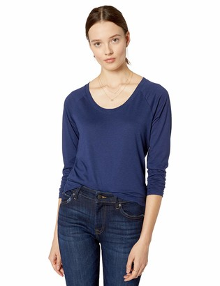 The Drop Ashley Long Sleeve Scoop Neck Drapey T-Shirt