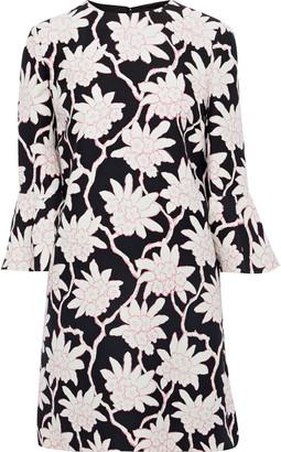 Valentino Floral-print Wool And Silk-blend Cady Mini Dress