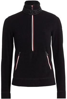 MONCLER GRENOBLE Three-Quarter Zip Fleece Insulator Sweater