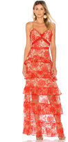 Nicholas Rosie Tiered Gown in Red. - size 0 (also in )