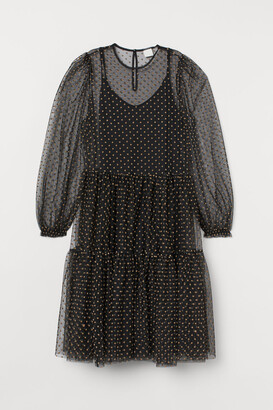H&M Flock-print Mesh Dress - Black