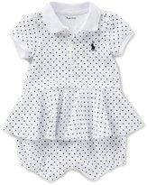 Ralph Lauren Baby Girls 3-24 Months Dotted Peplum-Hem Romper