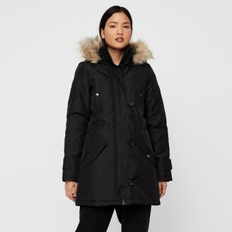 Vero Moda Mid-Length Parka with Faux Fur Hood and Pockets