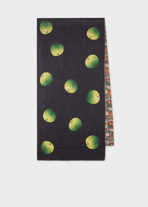 Paul Smith Men's 'Green Apple' Print Double-Face Wool-Cashmere Scarf