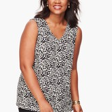 Talbots Knit Jersey Leaf Dot Shell