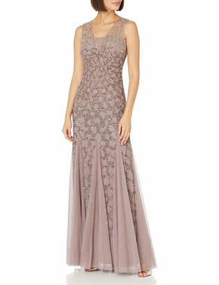 Adrianna Papell Women's Sleeveless Ombre Beaded Gown with V-Neckline