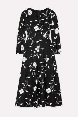 Oscar de la Renta Pleated Floral-print Wool-blend Crepe Midi Dress - Black