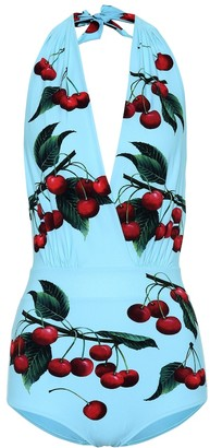 Dolce & Gabbana Exclusive to Mytheresa cherry printed halterneck swimsuit