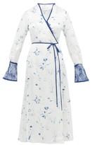Mame Kurogouchi - Lace-trimmed Floral-print Satin Wrap Dress - Womens - White Multi