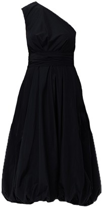 Tibi One Shoulder Taffeta Belted Waist Midi Dress