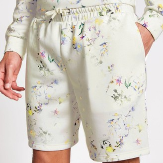 River Island Ecru floral slim fit drawstring waist shorts