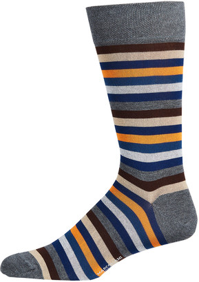Marcoliani Milano Men's Striped Cotton-Blend Crew Socks