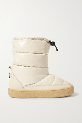 Isabel Marant Zerik Leather-trimmed Quilted Padded Patent-vinyl Snow Boots