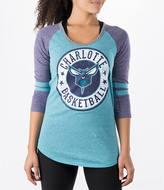 New Era Women's Charlotte Hornets NBA Tri-Blend 3/4 Sleeve Scoop T-Shirt