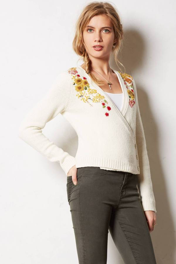 Anthropologie Guinevere Mabyn Embroidered Cardigan