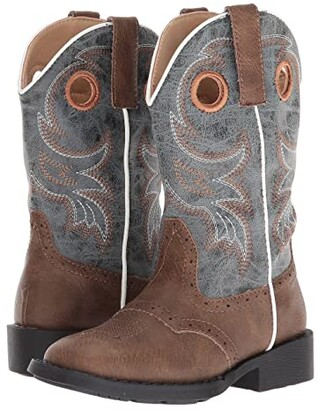 Roper Daniel (Toddler/Little Kid) (Brown Faux Vamp/Blue Shaft) Cowboy Boots