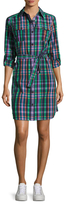 Anne Klein Madras Check Plaid Shirt Dress