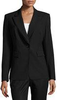 Lafayette 148 New York Double-Collar Wool-Blend Blazer Jacket, Black